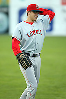 September 10 2008:  Peter Hissey of the Lowell Spinners, Class-A affiliate of the Boston Red Sox, during a game at Dwyer Stadium in Batavia, NY.  Photo by:  Mike Janes/Four Seam Images