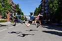 London, UK. 14.05.2019. Luca Silvestrini's Protein Dance company members, Yuyu Rau, Kenny Wing Tao Ho and Andrew Gardiner, dance in the streets and open spaces of Greenwich Borough - in Woolwich, Thamesmead and Greenwich - to celebrate 21 years of the company. Photograph © Jane Hobson.