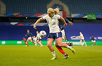 LE HAVRE, FRANCE - APRIL 13: Lindsey Horan #9 of the United States moves with the ball during a game between France and USWNT at Stade Oceane on April 13, 2021 in Le Havre, France.