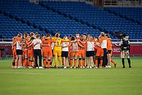 YOKOHAMA, JAPAN - JULY 30: The Netherlands huddles after a game between Netherlands and USWNT at International Stadium Yokohama on July 30, 2021 in Yokohama, Japan.