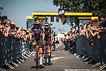 Tosh Van Der Sande (BEL) and Lotto-Soudal arrive at sign on before Stage 7 of the 2021 Tour de France, running 249.1km from Vierzon to Le Creusot, France. 2nd July 2021.  <br /> Picture: A.S.O./Charly Lopez | Cyclefile<br /> <br /> All photos usage must carry mandatory copyright credit (© Cyclefile | A.S.O./Charly Lopez)