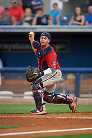 Fort Myers Miracle catcher Ben Rortvedt (15) checks the runner on third base as he fakes a throw down to second base during a Florida State League game against the Charlotte Stone Crabs on April 6, 2019 at Charlotte Sports Park in Port Charlotte, Florida.  Fort Myers defeated Charlotte 7-4.  (Mike Janes/Four Seam Images)