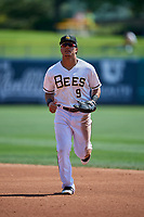 Michael Hermosillo (9) of the Salt Lake Bees during the game against the Fresno Grizzlies at Smith's Ballpark on September 4, 2017 in Salt Lake City, Utah. Fresno defeated Salt Lake 9-7. (Stephen Smith/Four Seam Images)