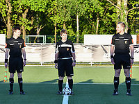 assistant referee Jonas Van Dyck , referee Sylvie Deckers and assistant referee Jiri Bergs pictured at the line up before a female soccer game between  Racing Genk Ladies and White Star Woluwe on the 8 th matchday of play off 2 in the 2020 - 2021 season of Belgian Scooore Womens Super League , tuesday 18 th of May 2021  in Genk , Belgium . PHOTO SPORTPIX.BE | SPP | JILL DELSAUX