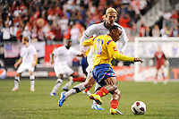 Camilo Zuniga (18) of Colombia (COL) plays the ball. The men's national teams of the United States (USA) and Colombia (COL) played to a 0-0 tie during an international friendly at PPL Park in Chester, PA, on October 12, 2010.