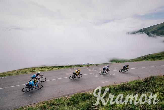 GC contenders Primoz Roglic (SVK/LottoNL-Jumbo), Geraint Thomas (GBR/SKY), Tom Dumoulin (NED/Sunweb),  Romain Bardet (FRA/AG2R-La Mondiale) & Mikel Landa (ESP/Movistar) coming down the last climb of the 2018 Tour: the Col d'Aubisque (HC/1709m/16.6km@4.9%)<br /> <br /> Stage 19: Lourdes > Laruns (200km)<br /> <br /> 105th Tour de France 2018<br /> ©kramon