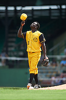 Jacksonville Suns pitcher Juancito Martinez (28) tips his cap after closing out the 20th Annual Rickwood Classic Game against the Birmingham Barons on May 27, 2015 at Rickwood Field in Birmingham, Alabama.  Jacksonville defeated Birmingham by the score of 8-2 at the countries oldest ballpark, Rickwood opened in 1910 and has been most notably the home of the Birmingham Barons of the Southern League and Birmingham Black Barons of the Negro League.  (Mike Janes/Four Seam Images)