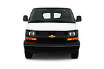Car photography straight front view of a 2018 Chevrolet Express 3500 3500 Extended Work Van 4 Door Cargo Van