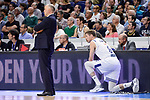 Real Madrid's coach Pablo Laso and Andres Nocioni during Turkish Airlines Euroleague match between Real Madrid and Anadolu Efes at Wizink Center in Madrid, April 07, 2017. Spain.<br /> (ALTERPHOTOS/BorjaB.Hojas)