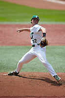 Charlotte 49ers relief pitcher Andrew Lindsey (32) in action against the UTSA Roadrunners at Hayes Stadium on April 18, 2021 in Charlotte, North Carolina. (Brian Westerholt/Four Seam Images)