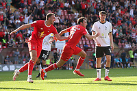 Theo Archibald of Leyton Orient scores the third goal for his team and celebrates during Leyton Orient vs Oldham Athletic, Sky Bet EFL League 2 Football at The Breyer Group Stadium on 11th September 2021