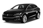 2017 Tesla Model X 100D 5 Door SUV angular front stock photos of front three quarter view