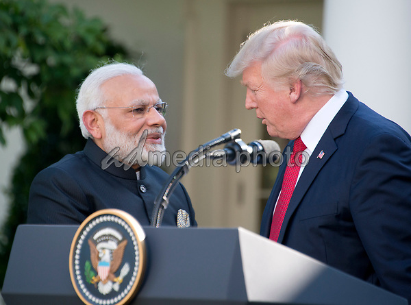 United States President Donald J. Trump and Prime Minister Narendra Modi of India shake hands after delivering joint statements in the Rose Garden of the White House in Washington, DC on Monday, June 26, 2017. Photo Credit: Ron Sachs/CNP/AdMedia