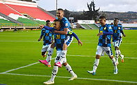 TUNJA -COLOMBIA, 11-10-2020:Juan Camilo Perez del Boyacá Chicó celebra después de anotar el primer gol de su equipo durante el partido entre Boyacá Chicó y el Deportivo Independiente Medellín por la fecha 13 de la Liga BetPlay DIMAYOR I 2020 jugado en el estadio La Independencia de la ciudad de Tunja. /Juan Camilo Perez of Boyaca Chico celebrates after scoring the first goal of his team during match between Boyaca Chico and Deportivo Independiente Medellin  for the date 13 BetPlay DIMAYOR League I 2020 played at La Independencia stadium in Tunja city: VizzorImage/  Edward Leguizamon / Contribuidor