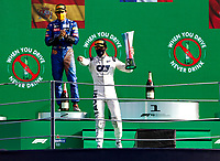 6th September 2020; Autodromo Nazionale Monza, Monza, Italy ; Formula 1 Grand Prix of Italy, Race Day;  10 Pierre Gasly FRA, Scuderia AlphaTauri Honda celebrates on the podium as he wins the race