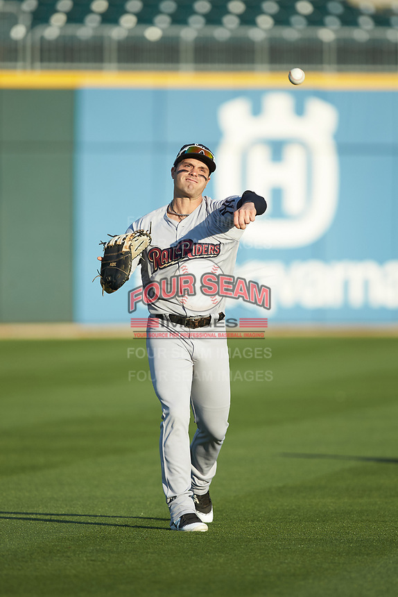 Scranton/Wilkes-Barre RailRiders first baseman Ryan McBroom (9) warms up in the outfield prior to the game against the Charlotte Knights at BB&T BallPark on April 12, 2018 in Charlotte, North Carolina.  The RailRiders defeated the Knights 11-1.  (Brian Westerholt/Four Seam Images)