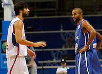 French national basketball team player Tony Parker argues with Milos Teodosic during round 1, Group B, basketball game between Serbia and France in Lithuania, Siauliai, Siauliu arena, Eurobasket 2011, Monday, September 5, 2011. (photo: Pedja Milosavljevic/SIPA PRESS)