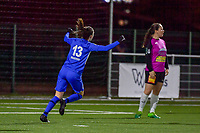 Gwen Duijsters (13) of KRC Genk celebrates when Hanne Merkelbach (25) of KRC Genk scored 1-0 during a female soccer game between Racing Genk Ladies and Eendracht Aalst on the 15 th matchday of the 2020 - 2021 season of Belgian Scooore Womens Super League , friday 5 th of March 2021  in Genk , Belgium . PHOTO SPORTPIX.BE   SPP   STIJN AUDOOREN