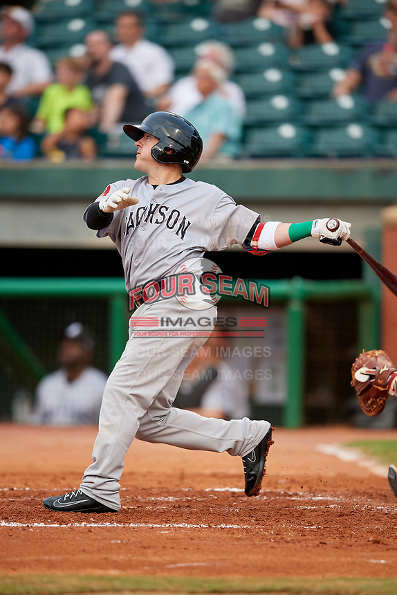 Jackson Generals center fielder Daniel Robertson (4) follows through on a swing during a game against the Chattanooga Lookouts on May 9, 2018 at AT&T Field in Chattanooga, Tennessee.  Chattanooga defeated Jackson 4-2.  (Mike Janes/Four Seam Images)