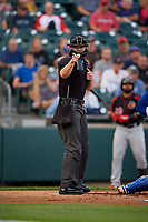 Umpire Adam Beck calls a strike during an International League game between the Rochester Red Wings and Buffalo Bisons on August 26, 2019 at Sahlen Field in Buffalo, New York.  Buffalo defeated Rochester 5-4.  (Mike Janes/Four Seam Images)