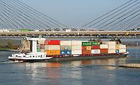 Nederland Zaltbommel 2016. De Martinus Nijhoffbrug is een kabel- of tuibrug over de rivier de Waal.  De brug werd op 18 januari 1996 geopend. De brug is de vervanging van de oude Bommelse Brug uit 1933, die in april 2007 werd gesloopt.  Foto Berlinda van Dam / Hollandse Hoogte