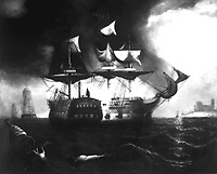 Action between the Bon Homme Richard and Serapis off Flamborough Head, England, on 23 September 1779.  Copy of painting attributed to William Strickland.  (Marine Corps)<br /> NARA FILE #:  127-N-A408767<br /> WAR & CONFLICT #:  48