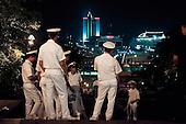 Odessa, Ukraine.August 27, 2005 ..Sailors at the Odessa port at night.