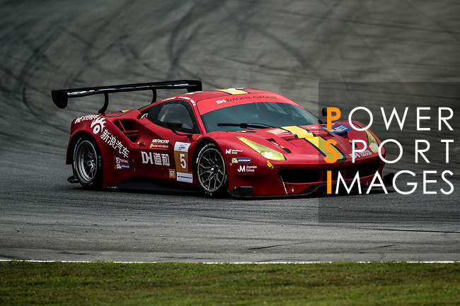 DH Racing, #5 Ferrari 488 GT3, driven by Chaoyin Wei, Michele Rugolo and Frederic Vervich in action during the Free Practice 1 of the 2016-2017 Asian Le Mans Series Round 1 at Zhuhai Circuit on 29 October 2016, Zhuhai, China.  Photo by Marcio Machado / Power Sport Images