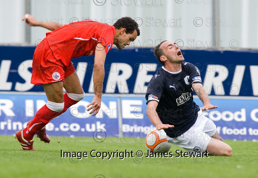 21/08/2010   Copyright  Pic : James Stewart.sct_jsp022_falkirk_v_stirling_alb  .:: MARK STEWART IS CAUGHT LATE BY HEEKING JEROME :: .James Stewart Photography 19 Carronlea Drive, Falkirk. FK2 8DN      Vat Reg No. 607 6932 25.Telephone      : +44 (0)1324 570291 .Mobile              : +44 (0)7721 416997.E-mail  :  jim@jspa.co.uk.If you require further information then contact Jim Stewart on any of the numbers above.........