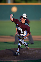 Floresville Tigers pitcher Garrison Lange (15) during a game against the Alamo Heights Mules on April 22, 2016 at the Park at Alamo Heights in San Antonio, Texas.  Alamo Heights defeated Floresville 5-0.  (Mike Janes/Four Seam Images)