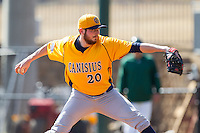 Canisius Golden Griffins starting pitcher Devon Stewart (20) in action against the Charlotte 49ers at Hayes Stadium on February 23, 2014 in Charlotte, North Carolina.  The Golden Griffins defeated the 49ers 10-1.  (Brian Westerholt/Four Seam Images)