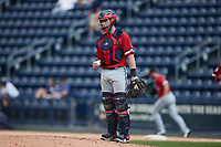 Rochester Red Wings catcher Jakson Reetz (15) on defense against the Scranton/Wilkes-Barre RailRiders at PNC Field on July 25, 2021 in Moosic, Pennsylvania. (Brian Westerholt/Four Seam Images)