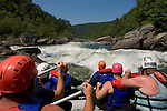 The Gauley River is not for the timid. Each year for 22 days in late summer the Summersville Dam is released and river rats from all over flock to the river to test their manhood.There are rapids from Class I to Class V on the river where the chutes have  names such as Lost Paddle, Shipwreck and Iron Ring. Most trips start at the Summersville Dam and go for about ten miles, at which point some camp for the night cookout and traverse the rest of the river the following day. As many as a dozen different outfitters take people down the river. There are jump rocks, naturally fed jacuzzi's at camp and a patronage that borders on the psychotic. Other rapid names are known as Pure Screaming Hell and Hungry Mother. The Gauley river is known as the toughest river to run east of the Mississippi. The Gauley River is not for the timid. Each year for 22 days in late summer the Summersville Dam is released and river rats from all over flock to the river to test their manhood.There are rapids from Class I to Class V on the river where the chutes have  names such as Lost Paddle, Shipwreck and Iron Ring. Most trips start at the Summersville Dam and go for about ten miles, at which point some camp for the night cookout and traverse the rest of the river the following day. As many as a dozen different outfitters take people down the river. There are jump rocks, naturally fed jacuzzi's at camp and a patronage that borders on the psychotic. Other rapid names are known as Pure Screaming Hell and Hungry Mother. The Gauley river is known as the toughest river to run east of the Mississippi.