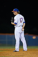 Kingsport Mets relief pitcher Witt Haggard (17) looks to his catcher for the sign against the Elizabethton Twins at Hunter Wright Stadium on July 9, 2015 in Kingsport, Tennessee.  The Twins defeated the Mets 9-7 in 11 innings. (Brian Westerholt/Four Seam Images)