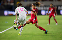 Carson, CA - Thursday August 03, 2017: Hikaru Kitagawa, Mallory Pugh during a 2017 Tournament of Nations match between the women's national teams of the United States (USA) and Japan (JAP) at StubHub Center.