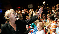Quebec City, June 27 2007. Pauline Marois waves to the crowd as she is crowned as the new PQ leader during a rally at the ThÈatre du Capitol in Quebec City June 27, 2007.<br /> <br /> PHOTO :  Francis Vachon - Agence Quebec Presse