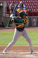 Beloit Snappers infielder Yairo Munoz (13) at bat during a Midwest League game against the Wisconsin Timber Rattlers on May 30th, 2015 at Fox Cities Stadium in Appleton, Wisconsin. Wisconsin defeated Beloit 5-3 in the completion of a game originally started on May 29th before being suspended by rain with the score tied 3-3 in the sixth inning. (Brad Krause/Four Seam Images)