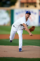 Rancho Cucamonga Quakes starting pitcher Andrew Sopko (12) follows through on his delivery during a California League game against the Lake Elsinore Storm at LoanMart Field on May 18, 2018 in Rancho Cucamonga, California. Lake Elsinore defeated Rancho Cucamonga 5-4. (Zachary Lucy/Four Seam Images)