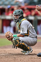 Oakland Athletics catcher Jose Chavez (22) during an Instructional League game against the Arizona Diamondbacks on October 10, 2014 at Chase Field in Phoenix, Arizona.  (Mike Janes/Four Seam Images)
