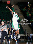 North Texas Mean Green forward Kedrick Hogans (24) in action during the game between the Jackson State Tigers and the University of North Texas Mean Green at the North Texas Coliseum,the Super Pit, in Denton, Texas. UNT defeated Jackson State 69 to 55.