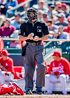 29 February 2020: MLB Umpire Brennan Miller works home plate during a Spring Training game between the St. Louis Cardinals and the Washington Nationals at Roger Dean Stadium in Jupiter, Florida. The Cardinals defeated the Nationals 6-3 in Grapefruit League play. Mandatory Credit: Ed Wolfstein Photo *** RAW (NEF) Image File Available ***
