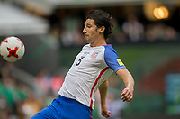 Mexico City, Mexico - Sunday June 11, 2017: Omar Gonzalez during a 2018 FIFA World Cup Qualifying Final Round match with both men's national teams of the United States (USA) and Mexico (MEX) playing to a 1-1 draw at Azteca Stadium.