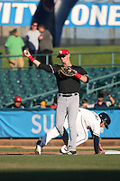 Tripp Martin (10) of the High Desert Mavericks throws the ball to the pitcher after a pickoff attempt during a game against the Lancaster JetHawks at The Hanger on April 16, 2016 in Lancaster, California. Lancaster defeated High Desert, 3-2. (Larry Goren/Four Seam Images)