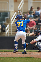 Austin Purser (37) of the Mars Hill Lions at bat against the Queens Royals at Intimidators Stadium on March 30, 2019 in Kannapolis, North Carolina. The Royals defeated the Bulldogs 11-6 in game one of a double-header. (Brian Westerholt/Four Seam Images)