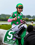 ELMONT, NY - JUNE 09: Irad Ortiz Jr.is all smiles with his win aboard #5 Disco Partner in the Jaipur Invitational Stakes on Belmont Stakes Day at Belmont Park on June 9, 2018 in Elmont, New York. (Photo by Bob Mayberger/Eclipse Sportswire/Getty Images)