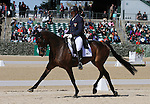 April 23, 2015:  #45 Petite Flower and Bruce Buck Davidson Jr. competing on the first day of Dressage at the Rolex Three Day Event at the Kentucky Horse Park in Lexington, KY.  Candice Chavez/ESW/CSM