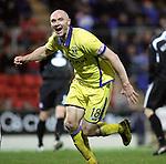 St Johnstone v Kilmarnock....06.11.10  .Conor Salmon celebrates his goal.Picture by Graeme Hart..Copyright Perthshire Picture Agency.Tel: 01738 623350  Mobile: 07990 594431