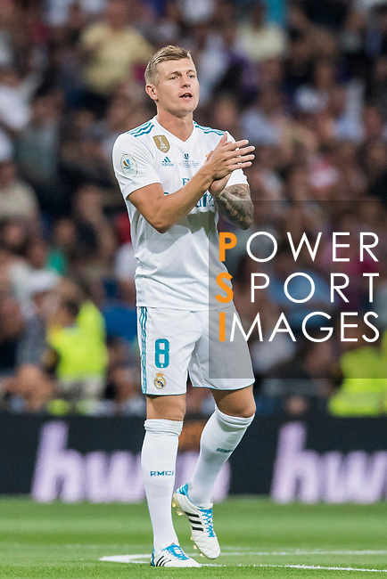Toni Kroos of Real Madrid celebrates during their Supercopa de Espana Final 2nd Leg match between Real Madrid and FC Barcelona at the Estadio Santiago Bernabeu on 16 August 2017 in Madrid, Spain. Photo by Diego Gonzalez Souto / Power Sport Images