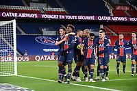 24th December 2020; Paris, France; French League 1 football, Paris St Germain versus Strasbourg;  PSG celebrates their goal TIMOTHEE PEMBELE and ANDER HERRERA PSG
