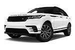 Stock pictures of low aggressive front three quarter view of a 2019 Land Rover Range Rover Velar Dynamic SE 5 Door SUV
